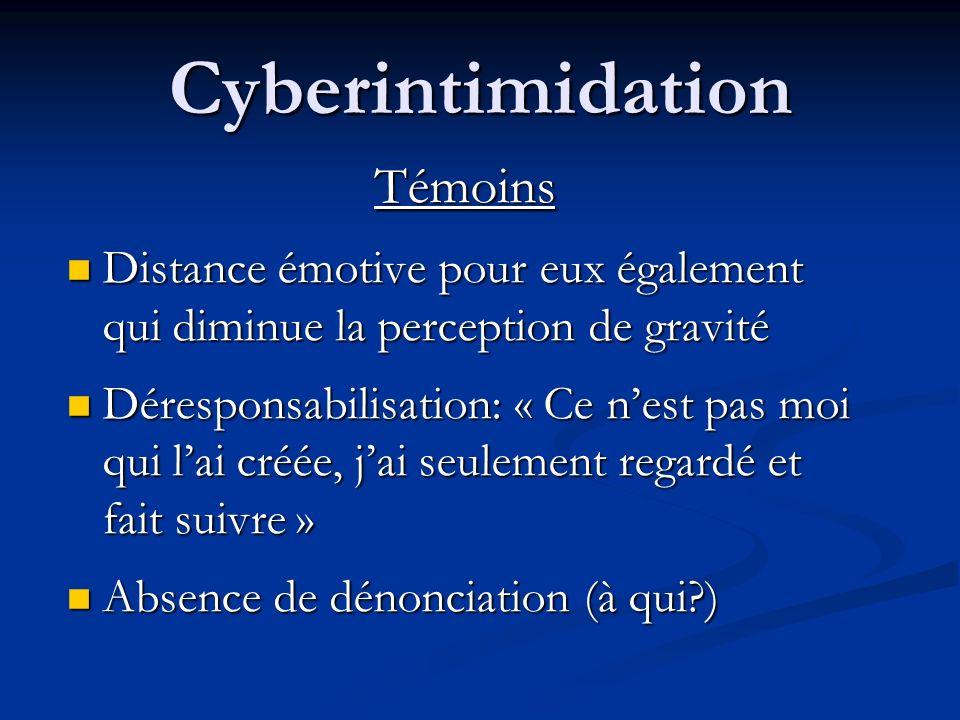 Cyberintimidation Cyberintimidateur Sentiment dimpunité dû à lanonymat Sentiment dimpunité dû à lanonymat Banalisation Banalisation Le cyberintimidate