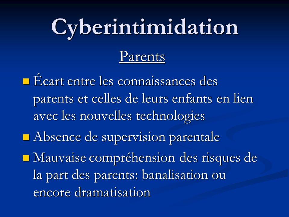 Cyberintimidation Témoins Distance émotive pour eux également qui diminue la perception de gravité Distance émotive pour eux également qui diminue la