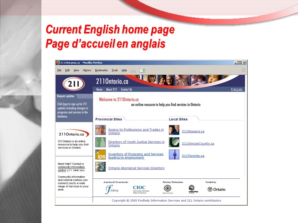 Current French home page Page daccueil en français