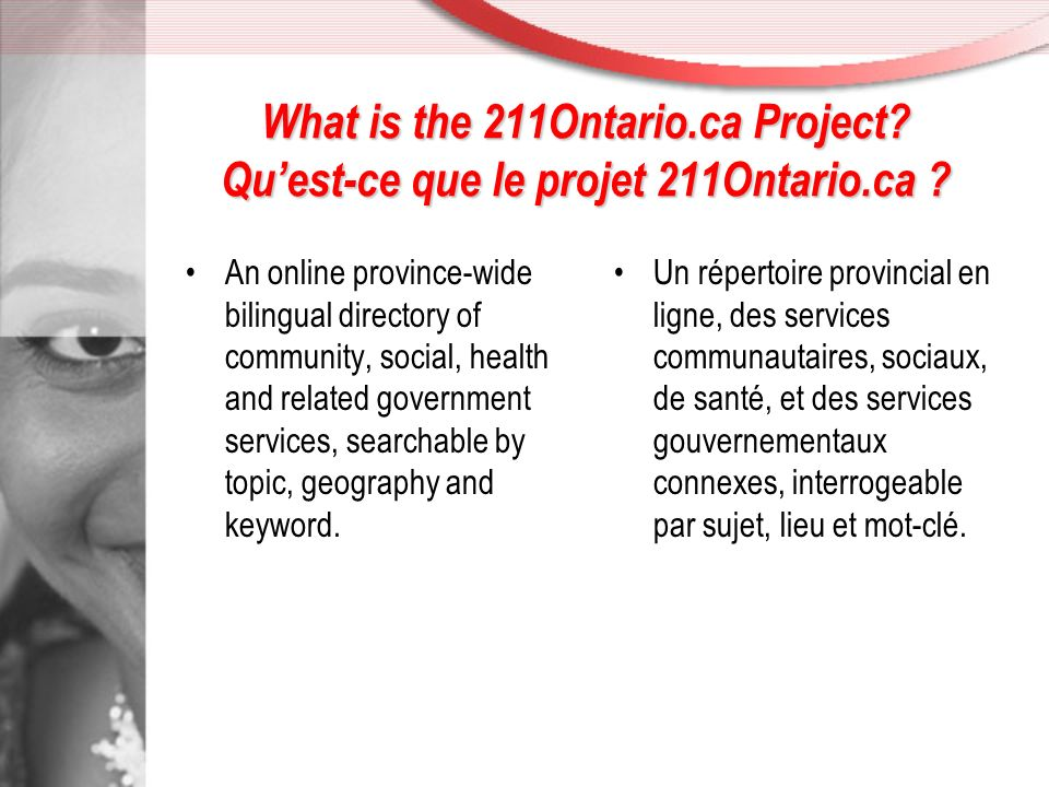 What is the 211Ontario.ca Project.Quest-ce que le projet 211Ontario.ca .