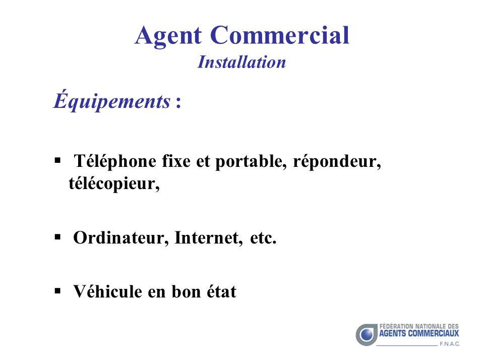 Agent Commercial Installation Équipements : Téléphone fixe et portable, répondeur, télécopieur, Ordinateur, Internet, etc.