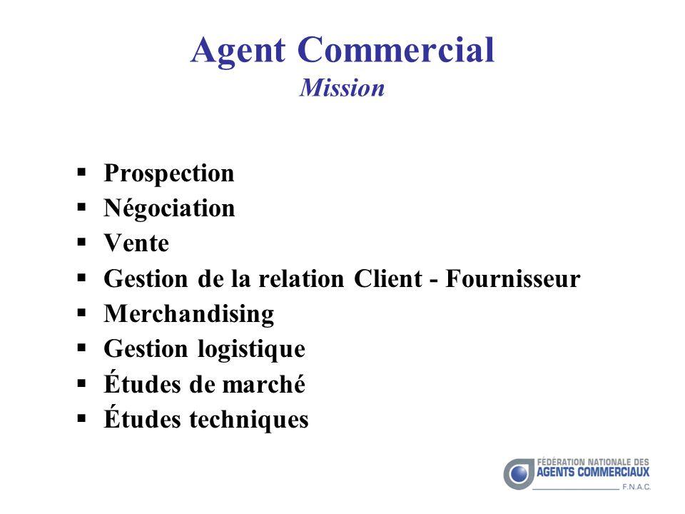 Agent Commercial Mission Prospection Négociation Vente Gestion de la relation Client - Fournisseur Merchandising Gestion logistique Études de marché Études techniques