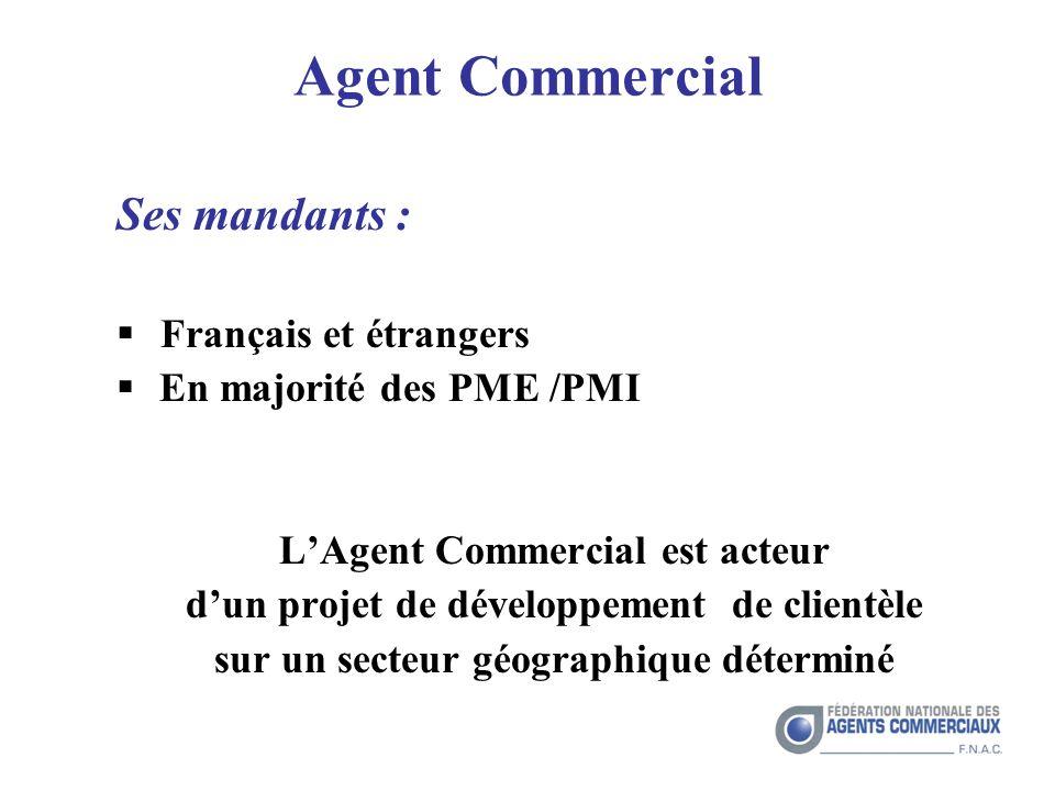 Agent Commercial Ses mandants : Français et étrangers En majorité des PME /PMI LAgent Commercial est acteur dun projet de développement de clientèle sur un secteur géographique déterminé
