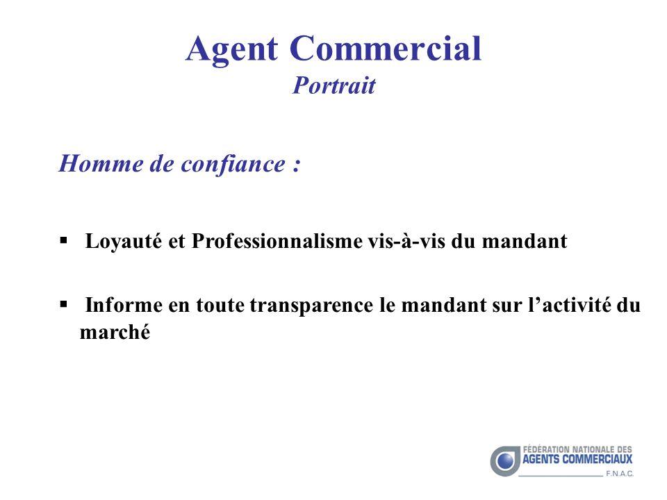 Agent Commercial Portrait Homme de confiance : Loyauté et Professionnalisme vis-à-vis du mandant Informe en toute transparence le mandant sur lactivité du marché