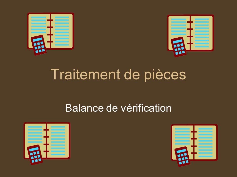 Traitement de pièces Balance de vérification