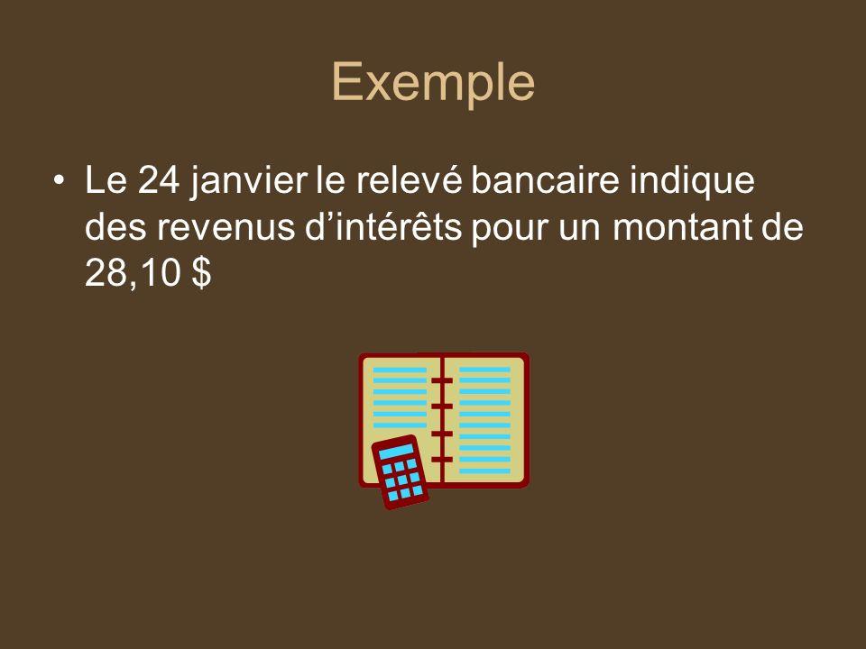Exemple Le 24 janvier le relevé bancaire indique des revenus dintérêts pour un montant de 28,10 $