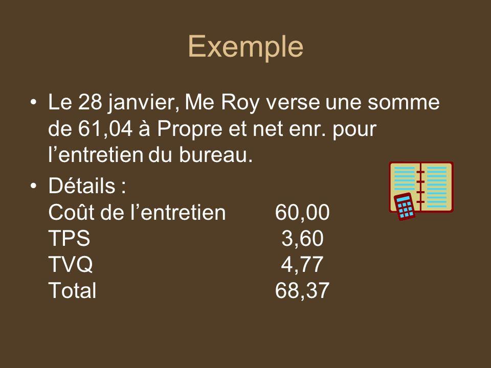 Exemple Le 28 janvier, Me Roy verse une somme de 61,04 à Propre et net enr. pour lentretien du bureau. Détails : Coût de lentretien60,00 TPS 3,60 TVQ