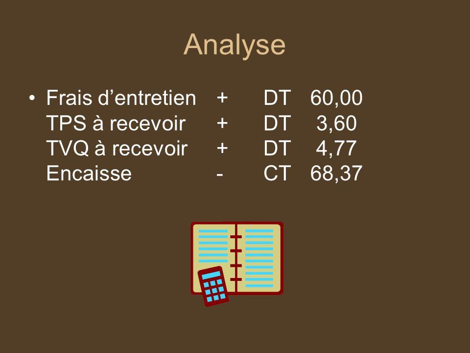 Analyse Frais dentretien+DT60,00 TPS à recevoir+DT 3,60 TVQ à recevoir+DT 4,77 Encaisse-CT68,37