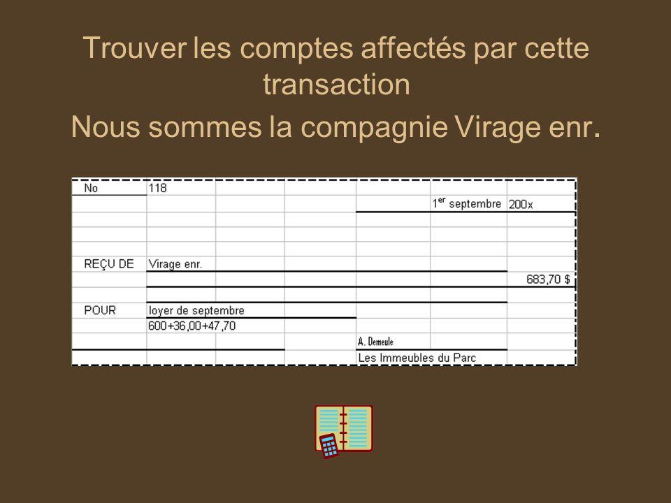 Trouver les comptes affectés par cette transaction Nous sommes la compagnie Virage enr.