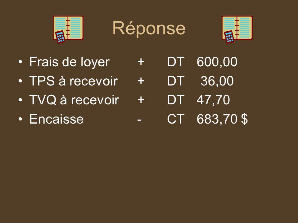 Réponse Frais de loyer +DT600,00 TPS à recevoir+DT 36,00 TVQ à recevoir+DT47,70 Encaisse-CT683,70 $