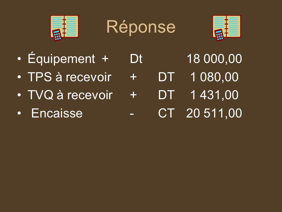 Réponse Équipement+Dt18 000,00 TPS à recevoir+DT 1 080,00 TVQ à recevoir+DT 1 431,00 Encaisse-CT20 511,00