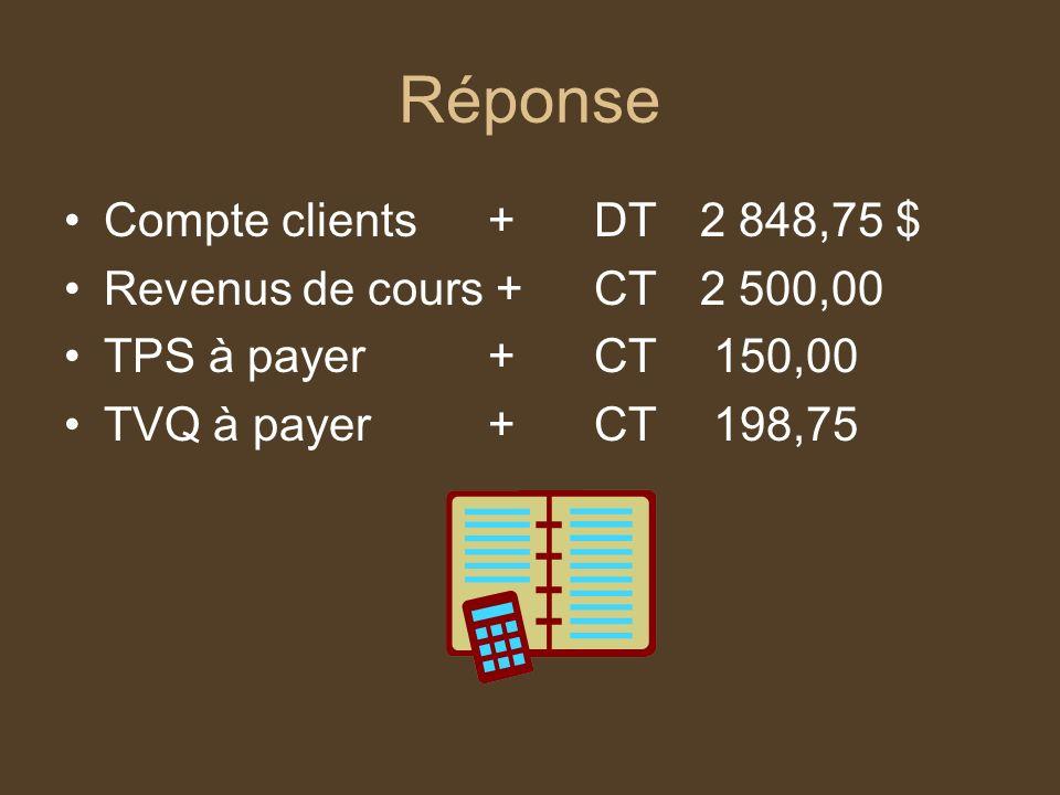 Réponse Compte clients+DT2 848,75 $ Revenus de cours +CT2 500,00 TPS à payer+CT 150,00 TVQ à payer+CT 198,75