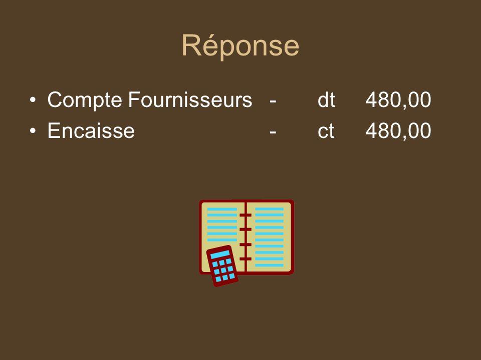 Réponse Compte Fournisseurs-dt480,00 Encaisse-ct480,00