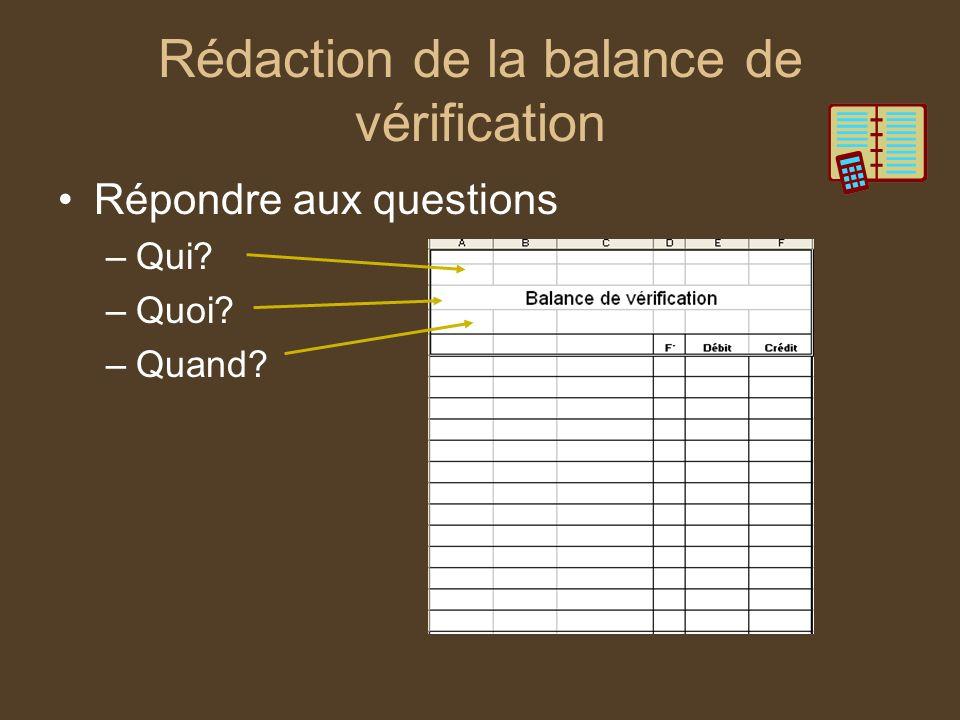 Balance de vérification Inscrire le nom des comptes Numéro du compte Le solde de chacun des comptes Faire la somme de chacune des colonnes Faire un double trait pour léquilibre