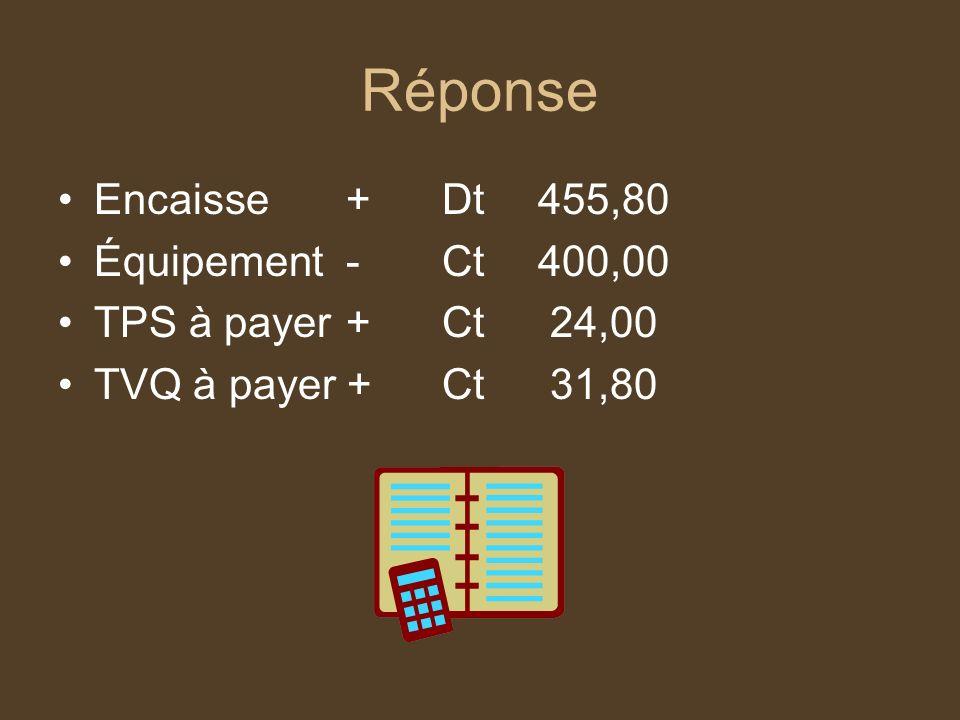 Réponse Encaisse+Dt455,80 Équipement-Ct400,00 TPS à payer+Ct 24,00 TVQ à payer +Ct 31,80