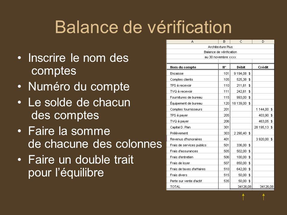 Balance de vérification Inscrire le nom des comptes Numéro du compte Le solde de chacun des comptes Faire la somme de chacune des colonnes Faire un do