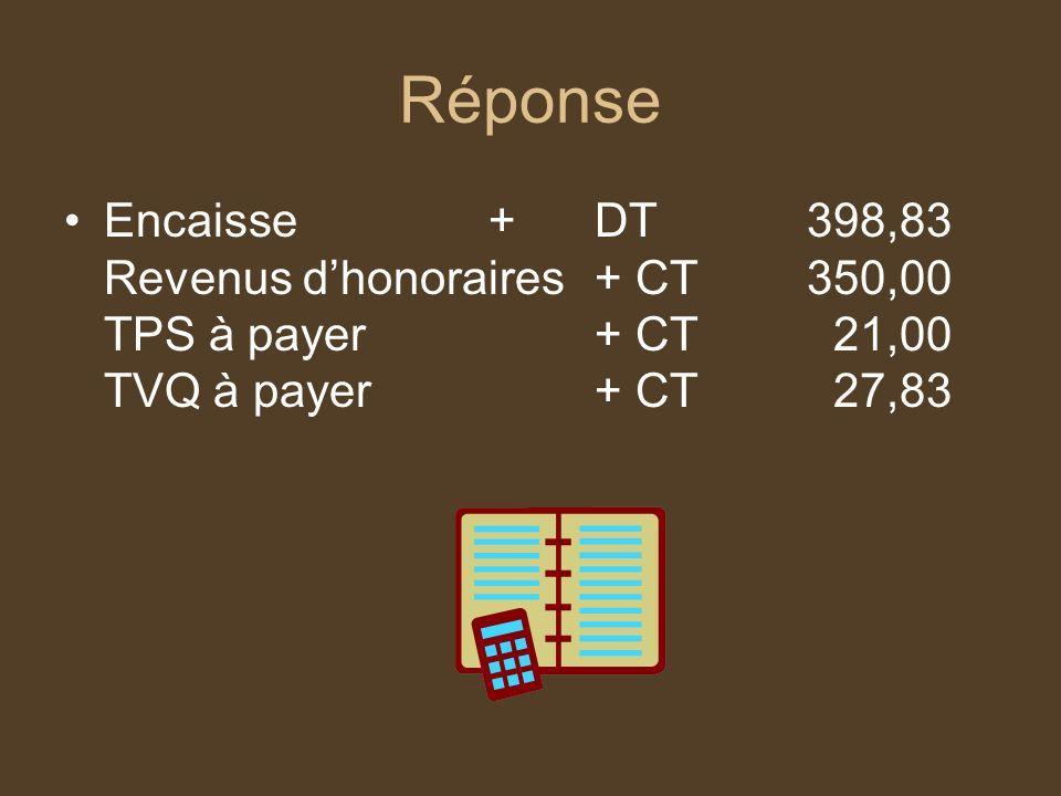 Réponse Frais de réparation +Dt120,00 TPS à recevoir+Dt 7,20 TVQ à recevoir+Dt 9,54 Compte fournisseurs+Ct 136,74