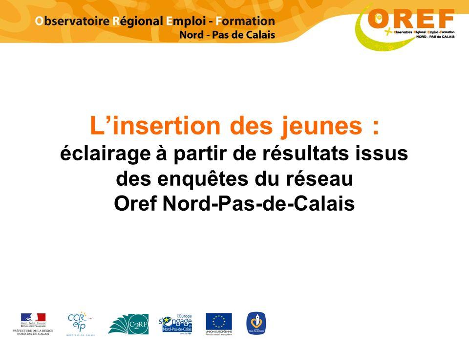Linsertion des jeunes : éclairage à partir de résultats issus des enquêtes du réseau Oref Nord-Pas-de-Calais