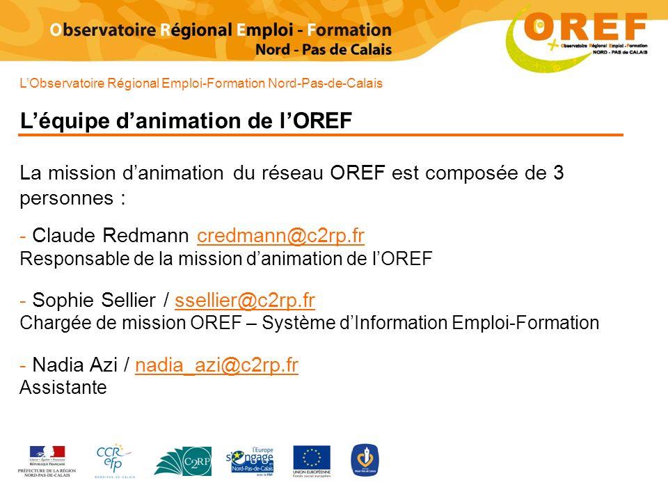 LObservatoire Régional Emploi-Formation Nord-Pas-de-Calais Léquipe danimation de lOREF La mission danimation du réseau OREF est composée de 3 personne