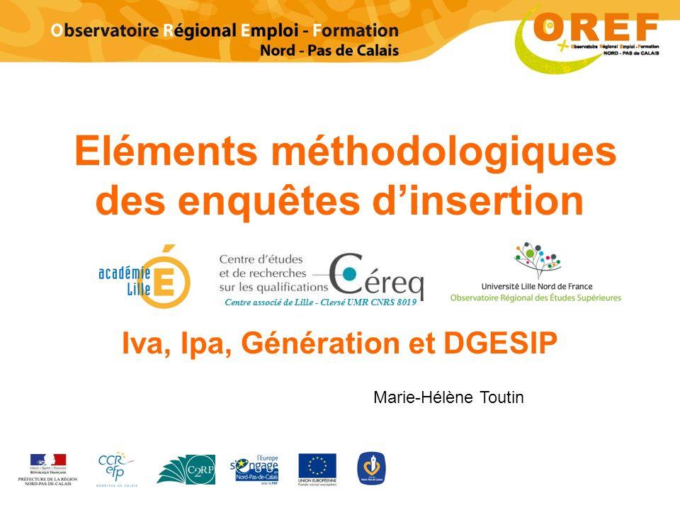 Eléments méthodologiques des enquêtes dinsertion Iva, Ipa, Génération et DGESIP Marie-Hélène Toutin