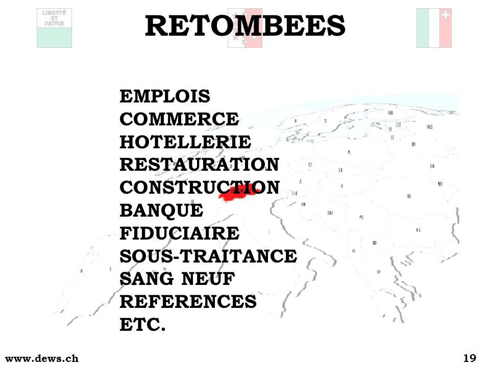 www.dews.ch19 RETOMBEES EMPLOIS COMMERCE HOTELLERIE RESTAURATION CONSTRUCTION BANQUE FIDUCIAIRE SOUS-TRAITANCE SANG NEUF REFERENCES ETC.