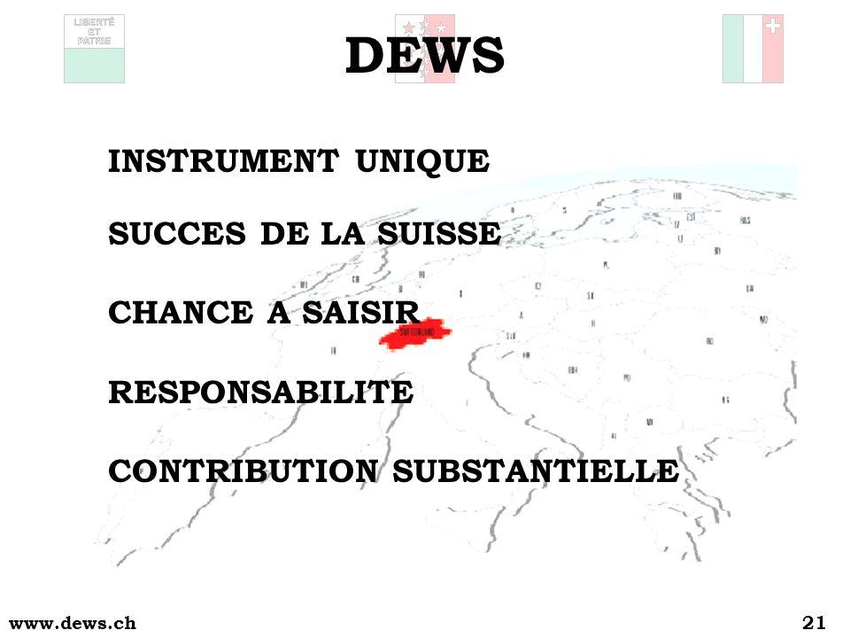 www.dews.ch21 DEWS INSTRUMENT UNIQUE SUCCES DE LA SUISSE CHANCE A SAISIR RESPONSABILITE CONTRIBUTION SUBSTANTIELLE