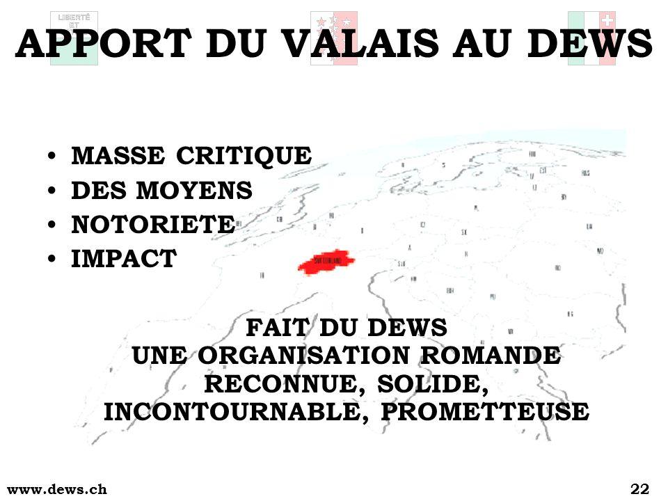 www.dews.ch22 APPORT DU VALAIS AU DEWS MASSE CRITIQUE DES MOYENS NOTORIETE IMPACT FAIT DU DEWS UNE ORGANISATION ROMANDE RECONNUE, SOLIDE, INCONTOURNABLE, PROMETTEUSE