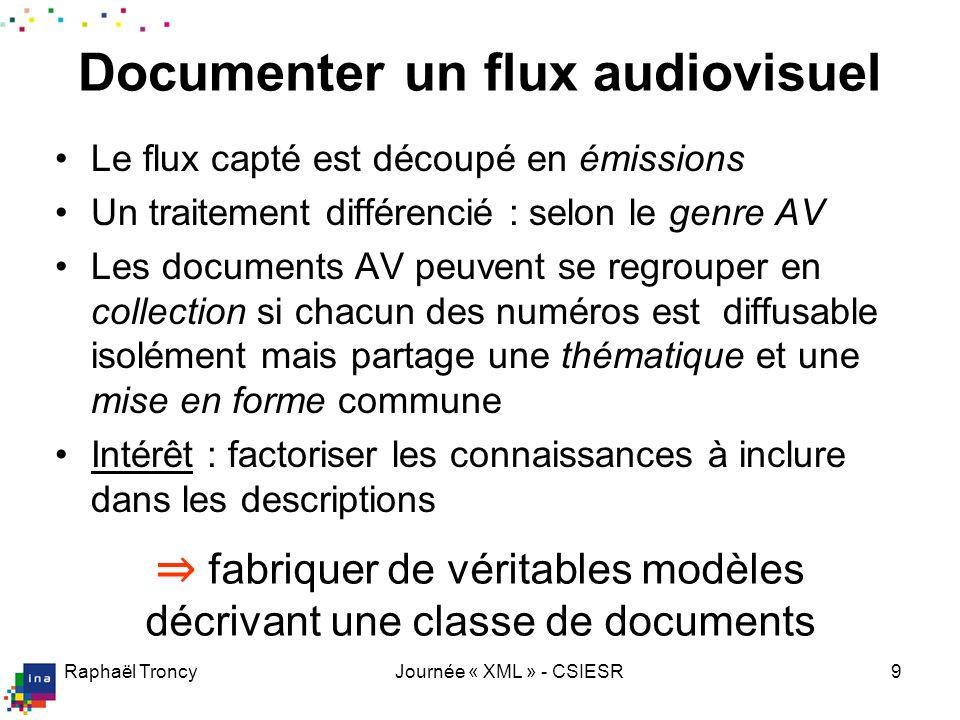 Raphaël TroncyJournée « XML » - CSIESR9 Documenter un flux audiovisuel Le flux capté est découpé en émissions Un traitement différencié : selon le gen