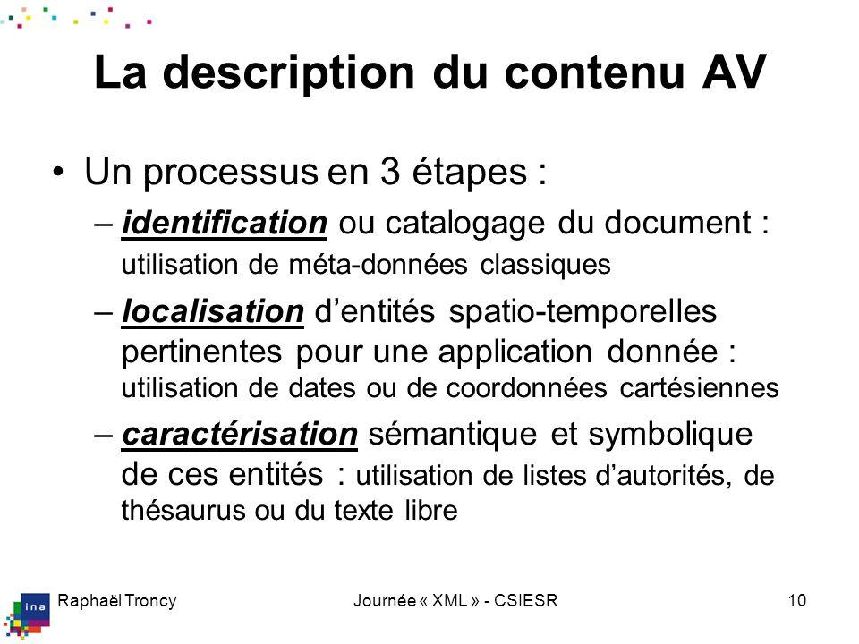 Raphaël TroncyJournée « XML » - CSIESR10 La description du contenu AV Un processus en 3 étapes : –identification ou catalogage du document : utilisati