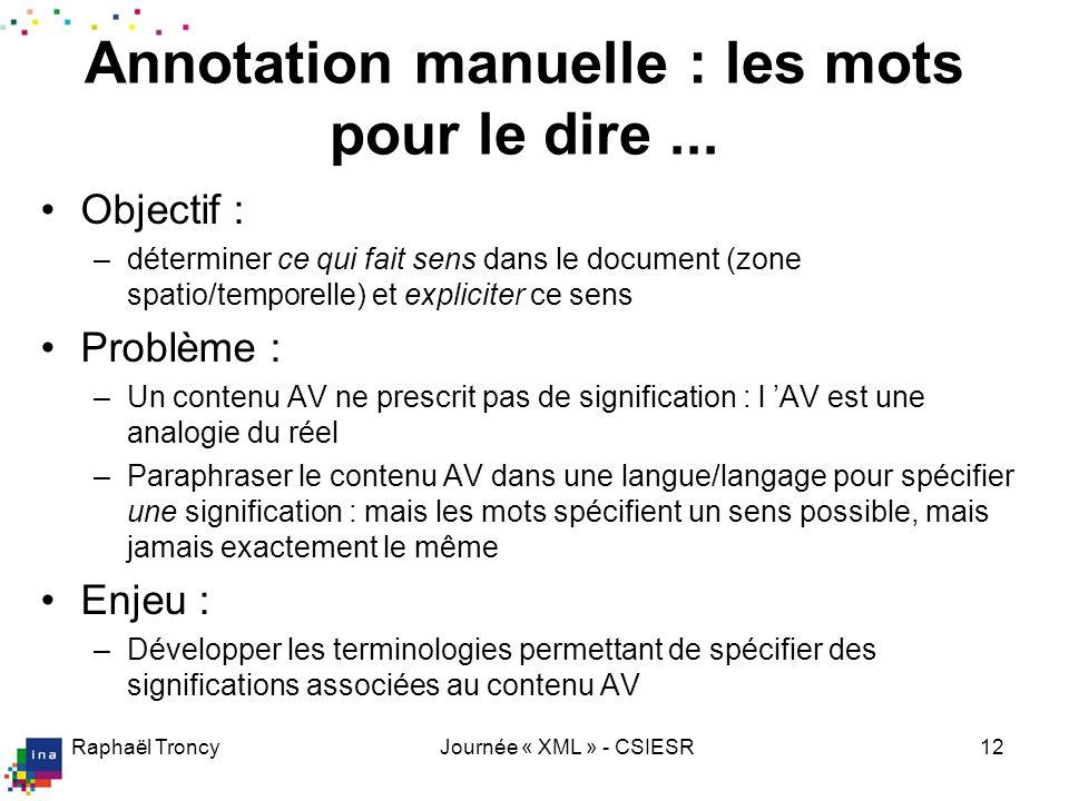 Raphaël TroncyJournée « XML » - CSIESR12 Annotation manuelle : les mots pour le dire... Objectif : –déterminer ce qui fait sens dans le document (zone