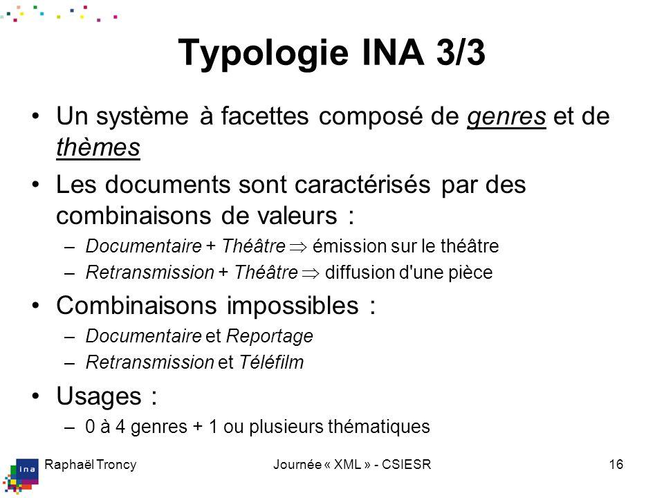 Raphaël TroncyJournée « XML » - CSIESR16 Typologie INA 3/3 Un système à facettes composé de genres et de thèmes Les documents sont caractérisés par de