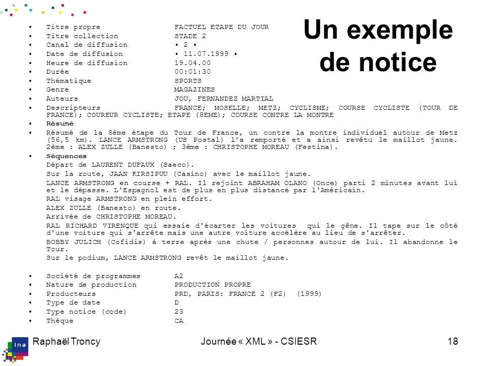 Raphaël TroncyJournée « XML » - CSIESR18 Un exemple de notice Titre propreFACTUEL ETAPE DU JOUR Titre collectionSTADE 2 Canal de diffusion 2 Date de d