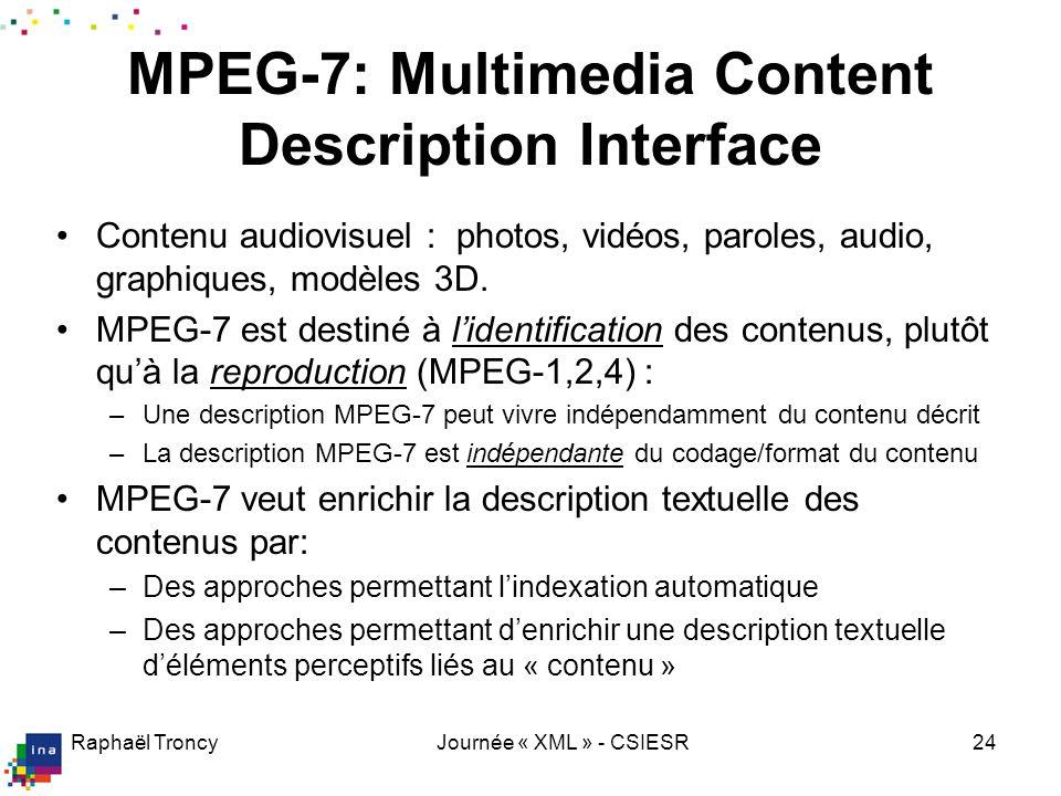 Raphaël TroncyJournée « XML » - CSIESR24 Contenu audiovisuel : photos, vidéos, paroles, audio, graphiques, modèles 3D. MPEG-7 est destiné à lidentific
