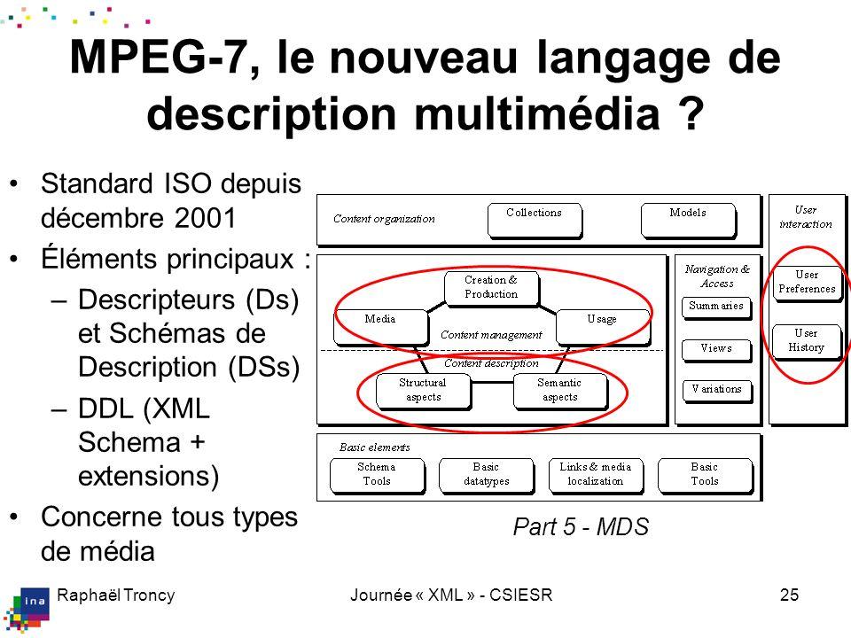 Raphaël TroncyJournée « XML » - CSIESR25 MPEG-7, le nouveau langage de description multimédia ? Standard ISO depuis décembre 2001 Éléments principaux