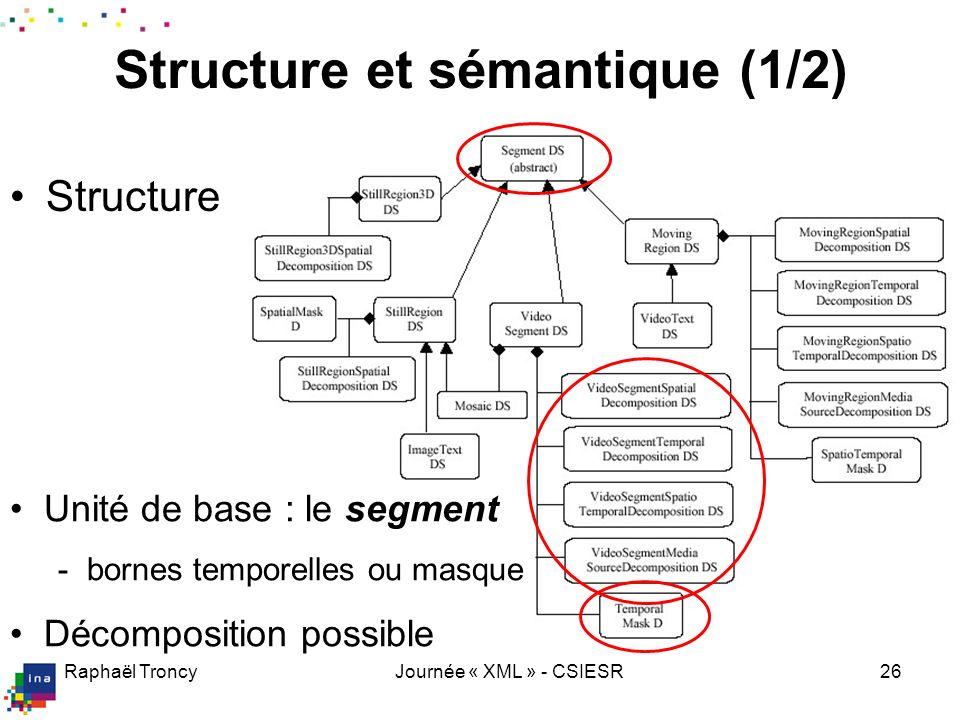 Raphaël TroncyJournée « XML » - CSIESR26 Structure et sémantique (1/2) Structure Unité de base : le segment - bornes temporelles ou masque Décompositi