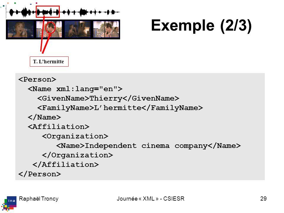 Raphaël TroncyJournée « XML » - CSIESR29 T. Lhermitte Thierry Lhermitte Independent cinema company Exemple (2/3)