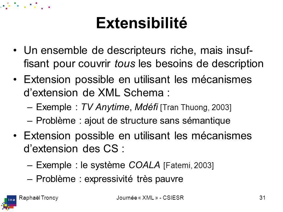 Raphaël TroncyJournée « XML » - CSIESR31 Extensibilité Un ensemble de descripteurs riche, mais insuf- fisant pour couvrir tous les besoins de descript