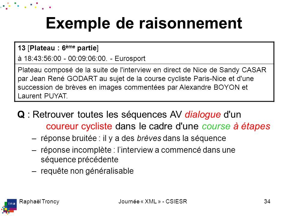 Raphaël TroncyJournée « XML » - CSIESR34 Q : Retrouver toutes les séquences AV où Sandy Casar donne une interview dans le cadre d'une course cycliste