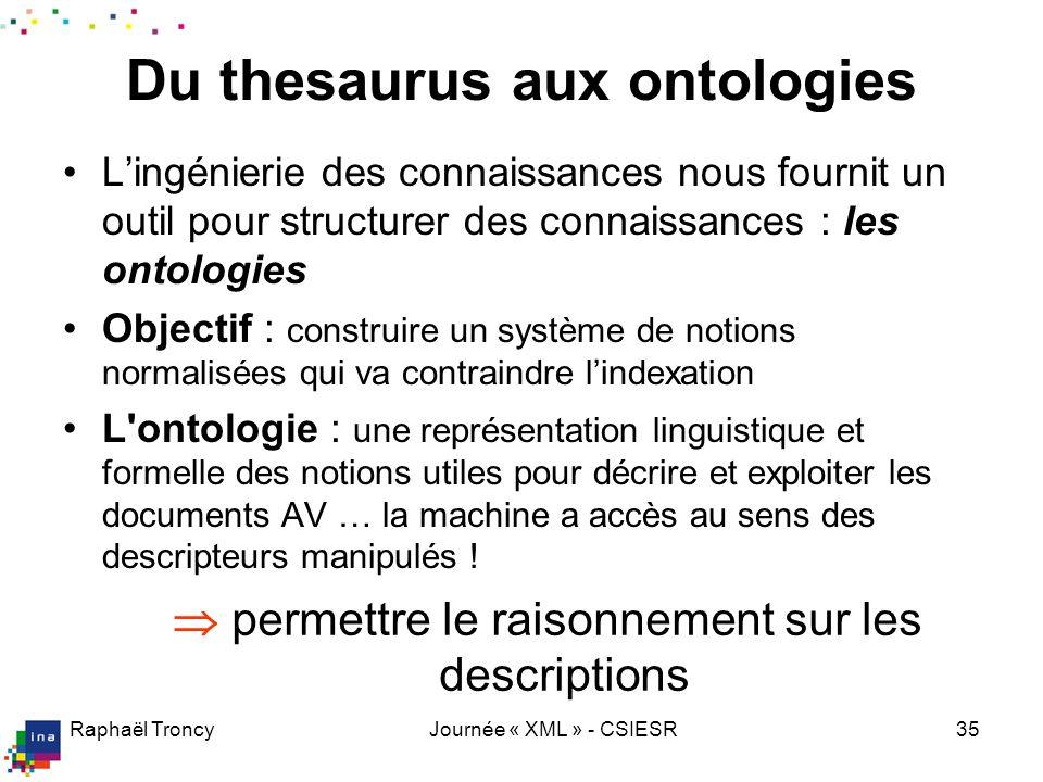 Raphaël TroncyJournée « XML » - CSIESR35 Du thesaurus aux ontologies Lingénierie des connaissances nous fournit un outil pour structurer des connaissa