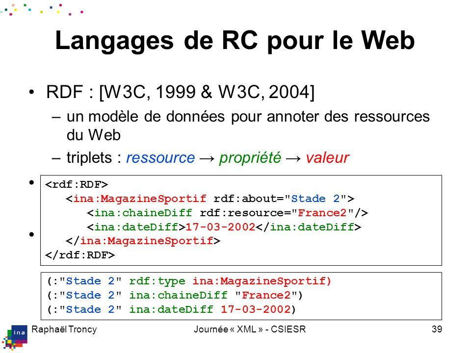 Raphaël TroncyJournée « XML » - CSIESR39 RDF : [W3C, 1999 & W3C, 2004] –un modèle de données pour annoter des ressources du Web –triplets : ressource