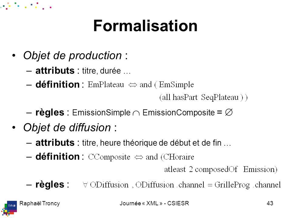 Raphaël TroncyJournée « XML » - CSIESR43 Formalisation Objet de production : –attributs : titre, durée … –définition : –règles : EmissionSimple Emissi