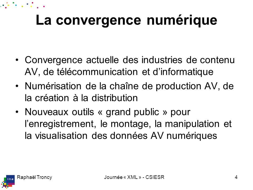 Raphaël TroncyJournée « XML » - CSIESR4 La convergence numérique Convergence actuelle des industries de contenu AV, de télécommunication et dinformati
