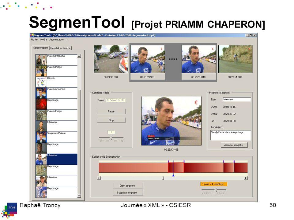 Raphaël TroncyJournée « XML » - CSIESR50 SegmenTool [Projet PRIAMM CHAPERON]
