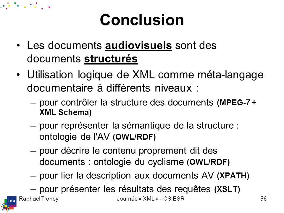 Raphaël TroncyJournée « XML » - CSIESR56 Conclusion Les documents audiovisuels sont des documents structurés Utilisation logique de XML comme méta-lan