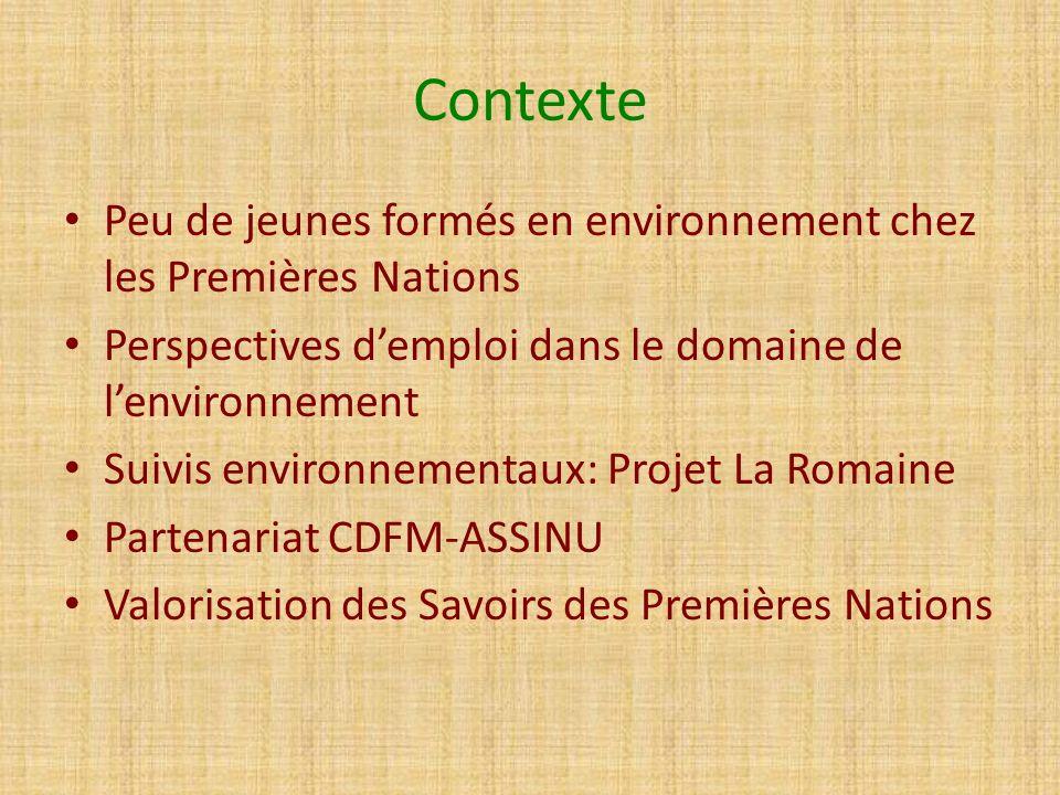 Contexte Peu de jeunes formés en environnement chez les Premières Nations Perspectives demploi dans le domaine de lenvironnement Suivis environnementa