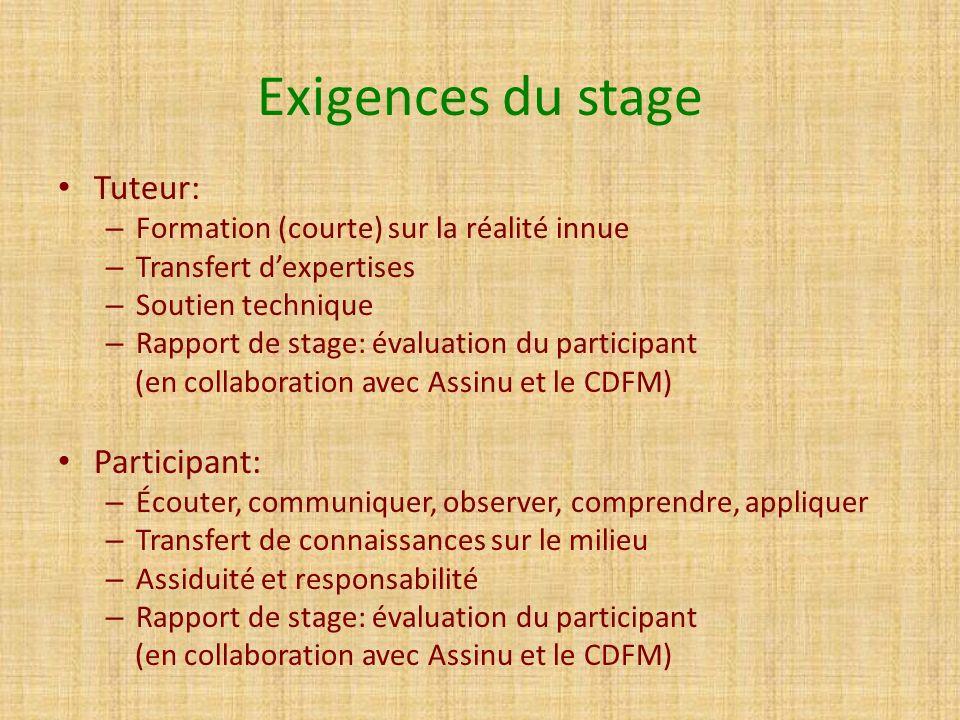 Exigences du stage Tuteur: – Formation (courte) sur la réalité innue – Transfert dexpertises – Soutien technique – Rapport de stage: évaluation du par