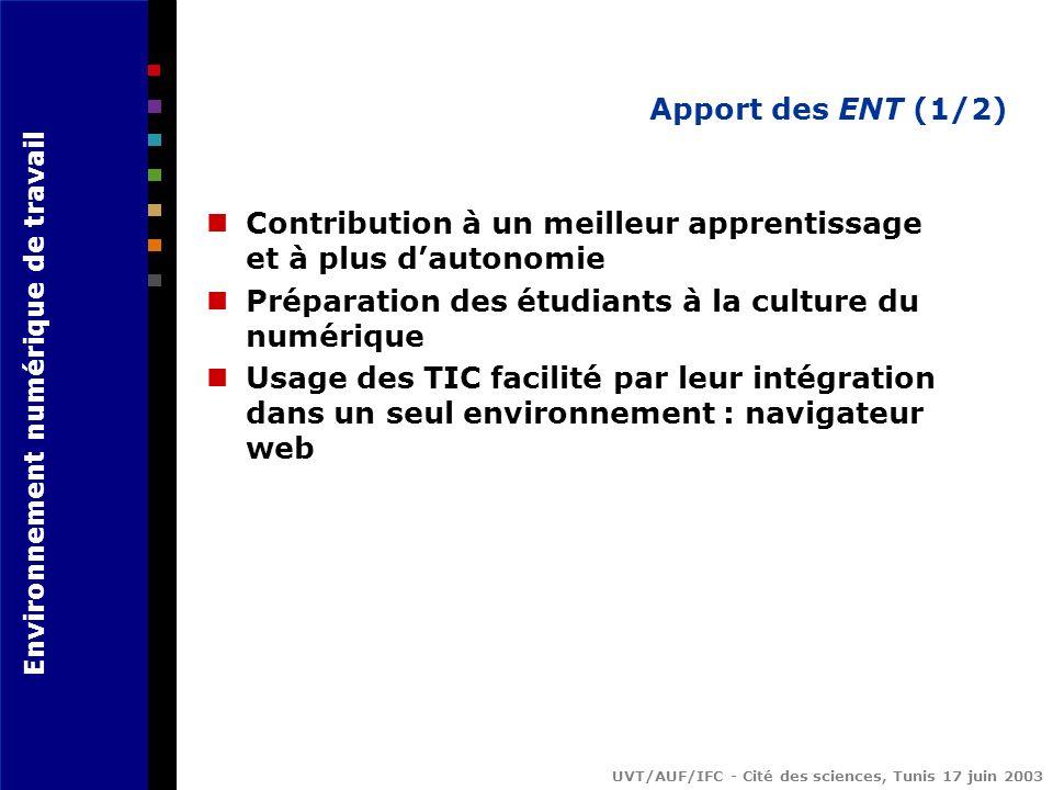 Environnement numérique de travail UVT/AUF/IFC - Cité des sciences, Tunis 17 juin 2003 Apport des ENT (1/2) Contribution à un meilleur apprentissage et à plus dautonomie Préparation des étudiants à la culture du numérique Usage des TIC facilité par leur intégration dans un seul environnement : navigateur web