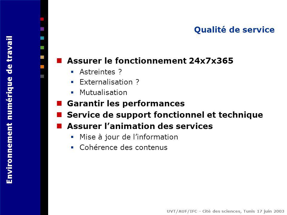 Environnement numérique de travail UVT/AUF/IFC - Cité des sciences, Tunis 17 juin 2003 Qualité de service Assurer le fonctionnement 24x7x365 Astreintes .