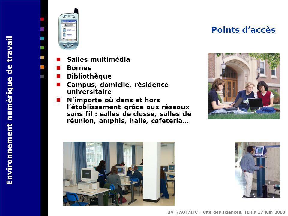 Environnement numérique de travail UVT/AUF/IFC - Cité des sciences, Tunis 17 juin 2003 Points daccès Salles multimédia Bornes Bibliothèque Campus, domicile, résidence universitaire Nimporte où dans et hors létablissement grâce aux réseaux sans fil : salles de classe, salles de réunion, amphis, halls, cafeteria…