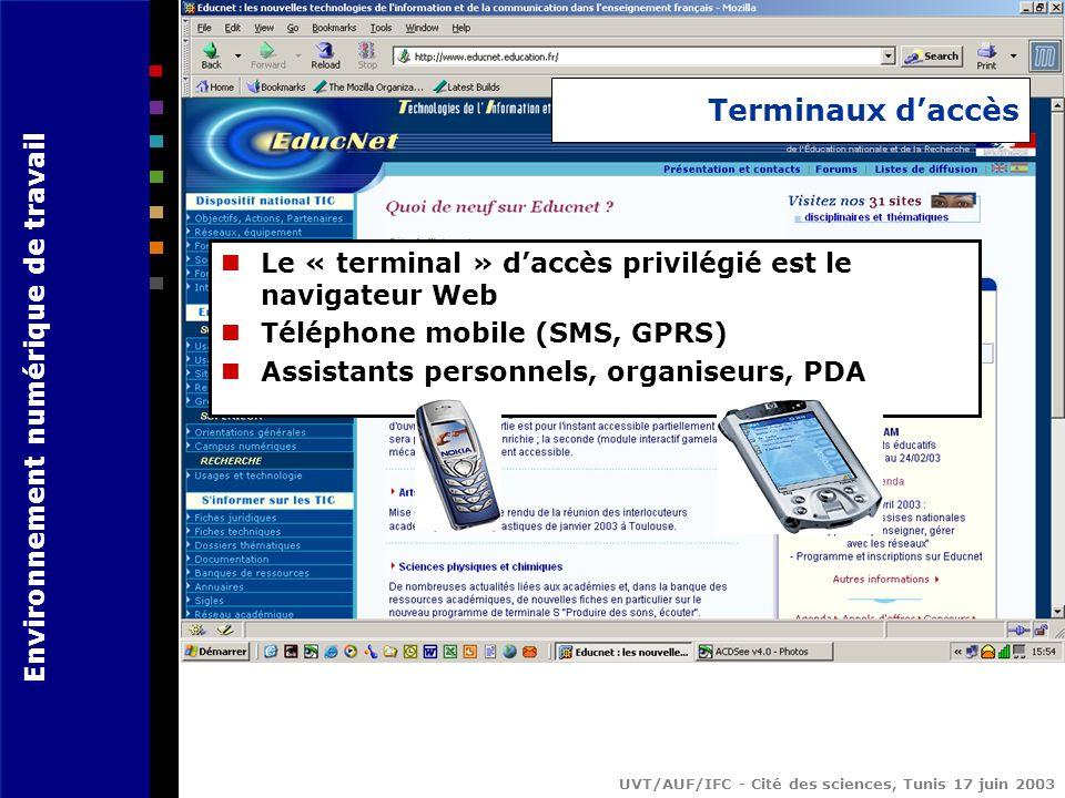 Environnement numérique de travail UVT/AUF/IFC - Cité des sciences, Tunis 17 juin 2003 Terminaux daccès Le « terminal » daccès privilégié est le navigateur Web Téléphone mobile (SMS, GPRS) Assistants personnels, organiseurs, PDA